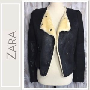 Zara Trafaluc Bomber Jacket Faux Leather, Wool